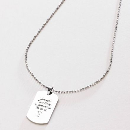 First Holy Communion Dogtag Necklace for a Boy, Free Engraving